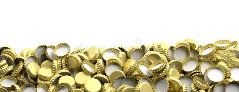 La bière vide et d'or couvre la pile sur le fond blanc, l'espace de copie, bannière illustration 3D illustration stock