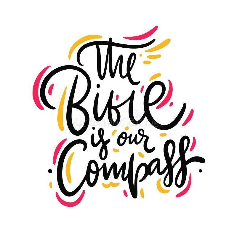 La biblia es nuestra mano del compás dibujada poniendo letras a cita Aislado en el fondo blanco ilustración del vector