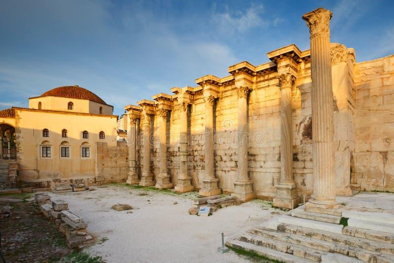 La biblioteca di Hadrian, Atene immagini stock libere da diritti