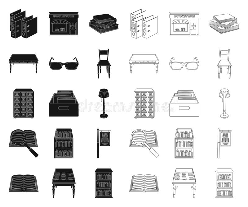 La biblioteca y la librería ennegrecen, resumen iconos en la colección del sistema para el diseño Libros y web de la acción del s ilustración del vector