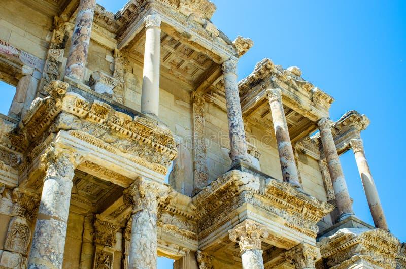 La bibliothèque magnifique de Celsus dans Ephesus, Turquie images libres de droits