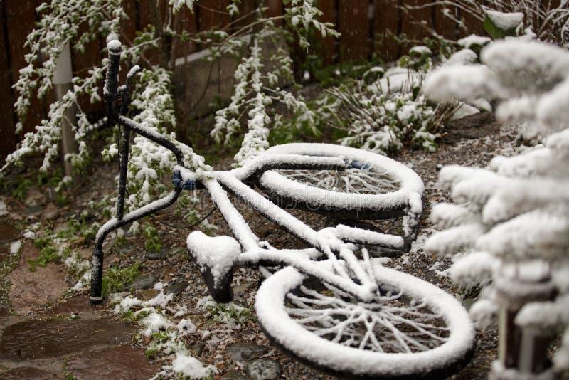 La bici completamente coperta di neve nel mese di può immagine stock libera da diritti