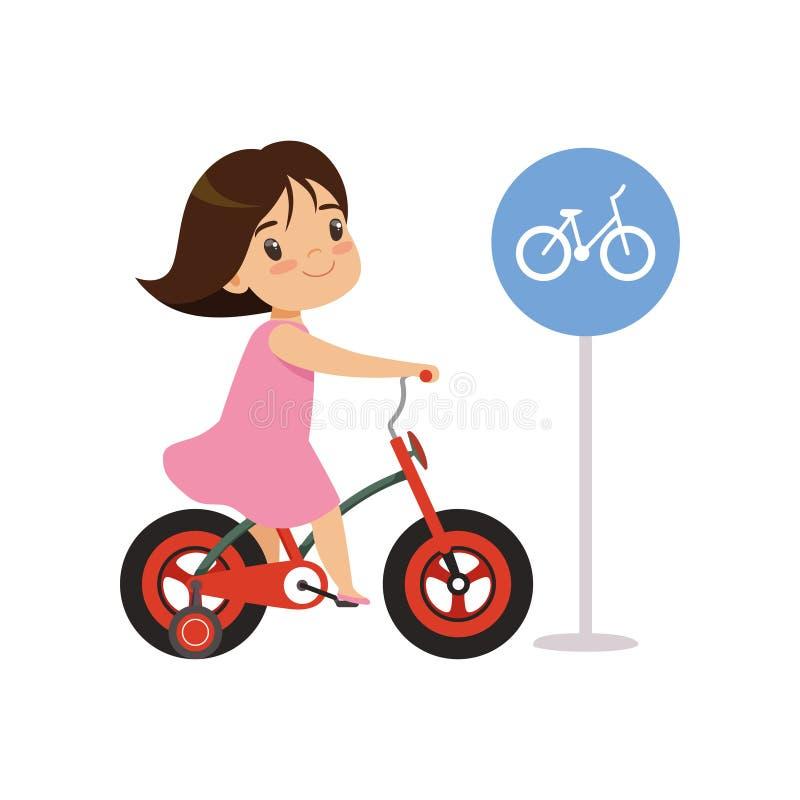 La bici di guida della ragazza, va in bicicletta soltanto il segnale stradale, l'istruzione di traffico, le regole, la sicurezza  illustrazione di stock