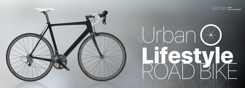 La bici negra del deporte del carbono y la forma de vida urbana diseñan libre illustration