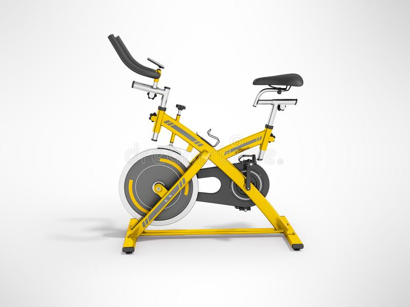 La bicicleta estática moderna del deporte para el amarillo 3d del gimnasio rinde en la parte posterior del gris stock de ilustración