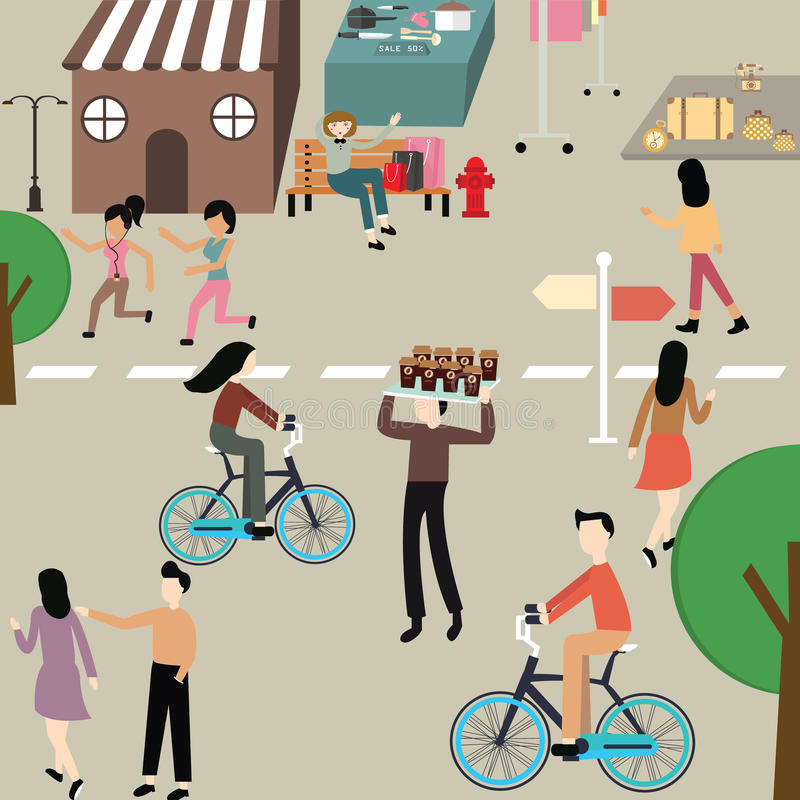 La bicicleta que activa del día del cuidado del ejemplo de la gente de la mujer libre del hombre cuelga alrededor ejercicio del d ilustración del vector