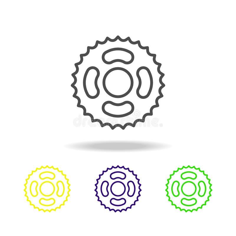 la bicyclette d'astérisque a coloré des icônes Élément de motocyclette pour l'illustration mobile d'apps de concept et de Web Lig illustration libre de droits