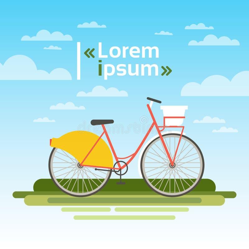 La bicyclette dehors sur l'herbe verte au-dessus du ciel bleu aucune personnes écologiques nettoient le concept de transport illustration de vecteur