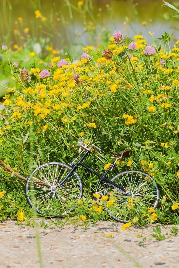 La bicyclette modèle de vintage sur le fond fleurit le pré photographie stock libre de droits