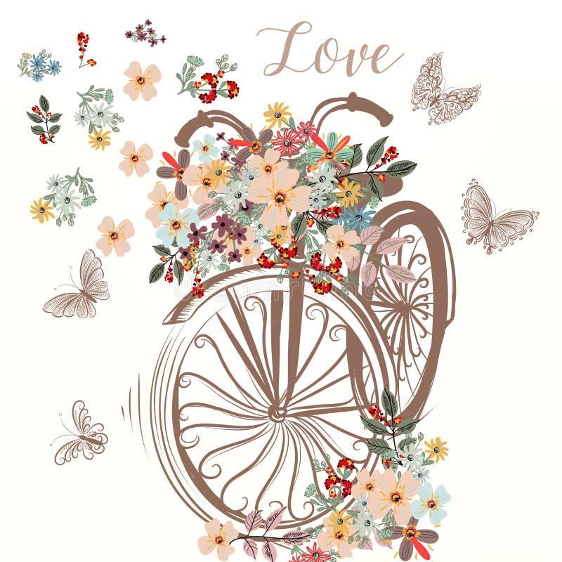 La bicyclette tirée par la main mignonne avec le groupe de ressort fleurit illustration libre de droits