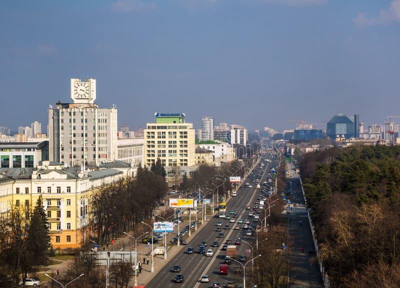 La Bielorussia, Minsk, viale di indipendenza fotografia stock