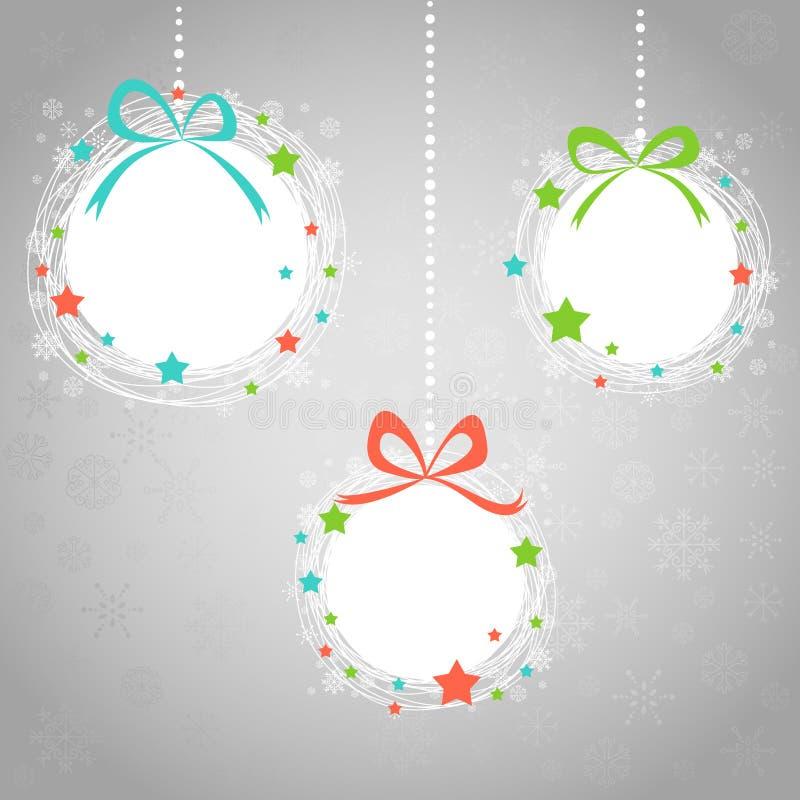 La bille de Noël joue la carte avec des flocons de neige illustration stock