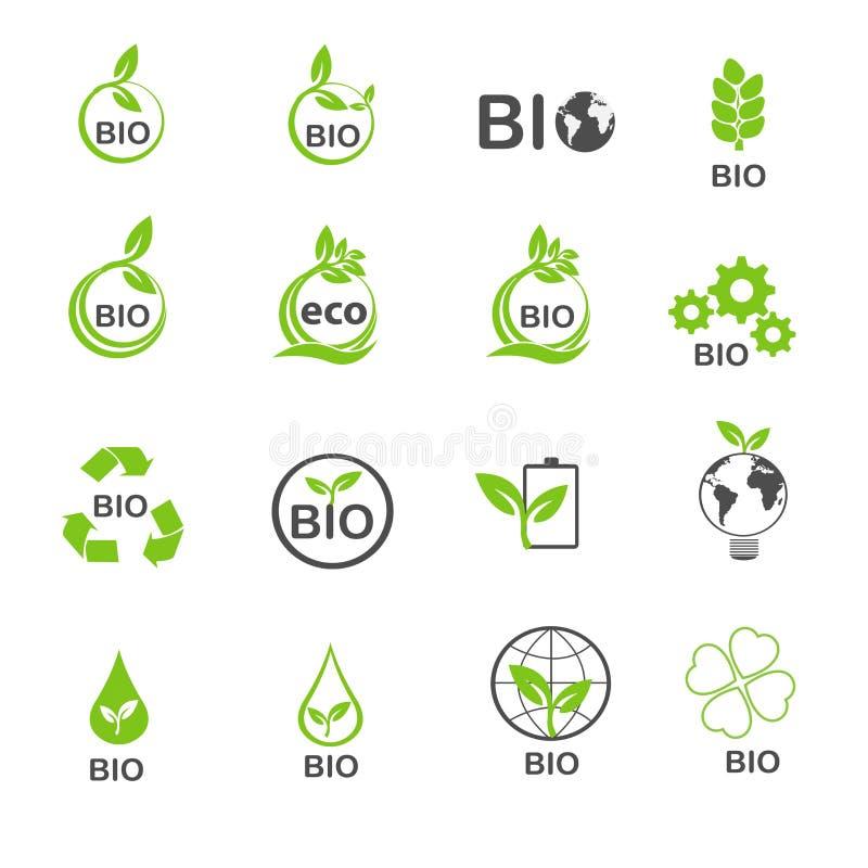 La bio- ecologia nelle icone verdi dell'ambiente ha fissato il vettore illustrazione vettoriale