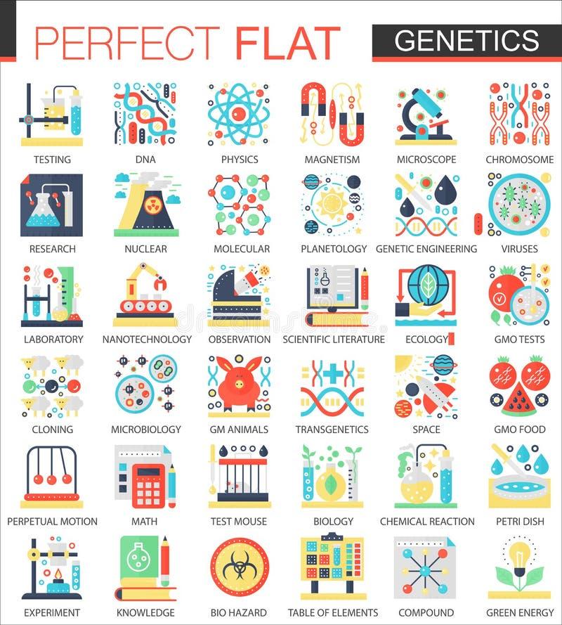 La biochimie, la génétique de biologie dirigent des symboles plats complexes de concept d'icône pour la conception infographic de illustration de vecteur