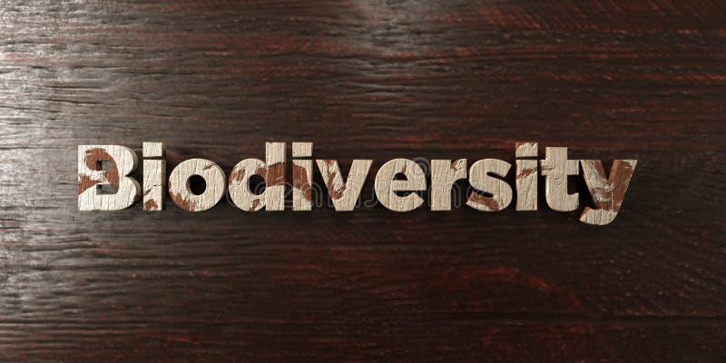 La biodiversidad - título de madera sucio en arce - 3D rindió imagen común libre de los derechos libre illustration