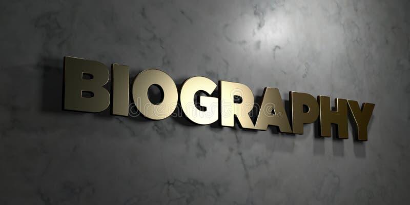La biografía - muestra del oro montada en la pared de mármol brillante - 3D rindió el ejemplo común libre de los derechos ilustración del vector
