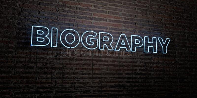 La BIOGRAFÍA - señal de neón realista en fondo de la pared de ladrillo - 3D rindió imagen común libre de los derechos stock de ilustración