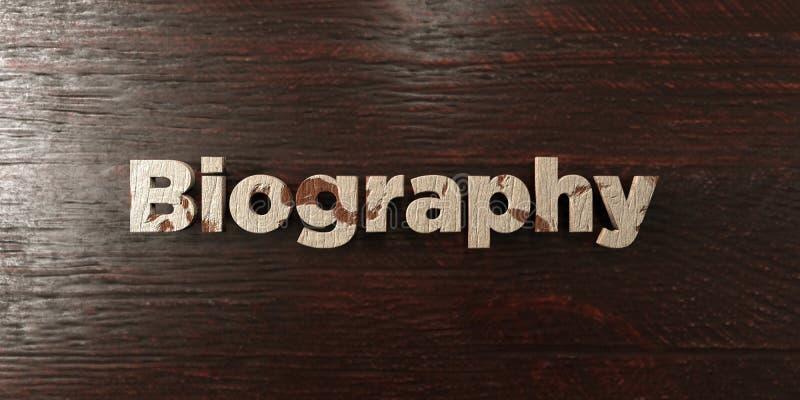 La biografía - título de madera sucio en arce - 3D rindió imagen común libre de los derechos stock de ilustración