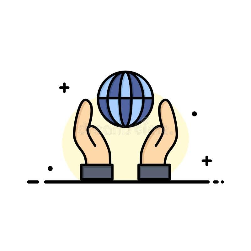 La biosphère, conservation, énergie, ligne plate d'affaires de puissance a rempli calibre de bannière de vecteur d'icône illustration de vecteur