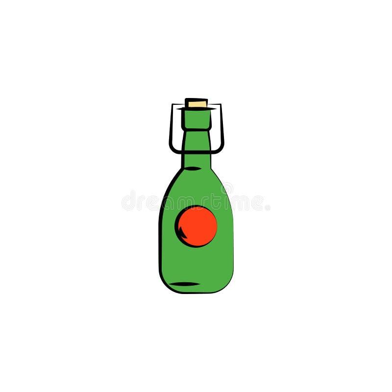 la birra in bottiglia di vetro ha colorato l'icona di stile di schizzo Elemento dell'icona della birra per i apps mobili di web e illustrazione di stock