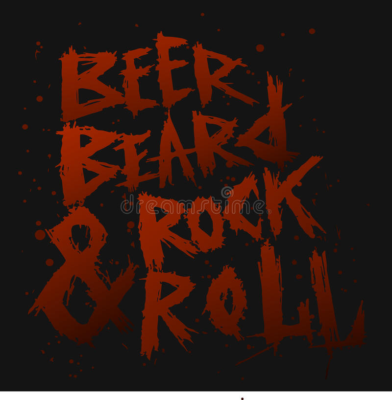 La birra d'annata, la barba e la roccia del manifesto rotolano - l'iscrizione disegnata a mano unica fotografia stock libera da diritti