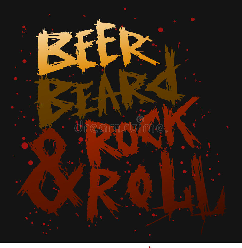 La birra d'annata, la barba e la roccia del manifesto rotolano - l'iscrizione disegnata a mano unica immagine stock