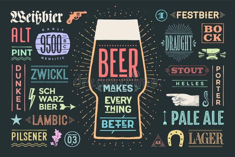La birra del manifesto rende tutto migliore royalty illustrazione gratis