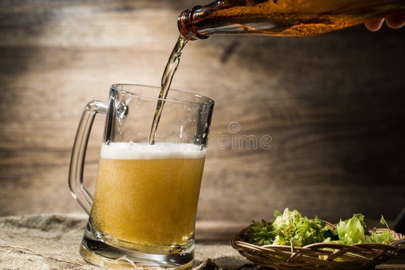 La birra spumosa dalla bottiglia ha versato nella tazza che sta vicino al luppolo immagini stock