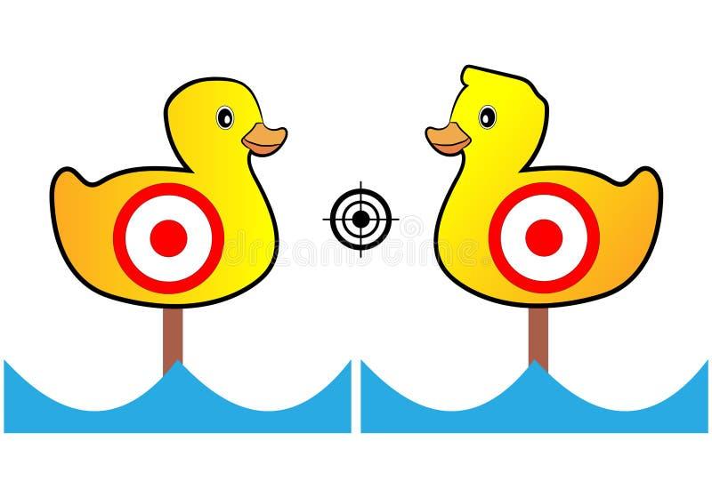 La blanco pintó los patos amarillos para la radio de tiro y el entretenimiento ilustración del vector