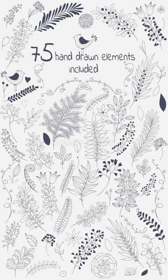 La boîte à outils de conception de vecteur inclut 75 éléments tirés par la main floraux de personnes