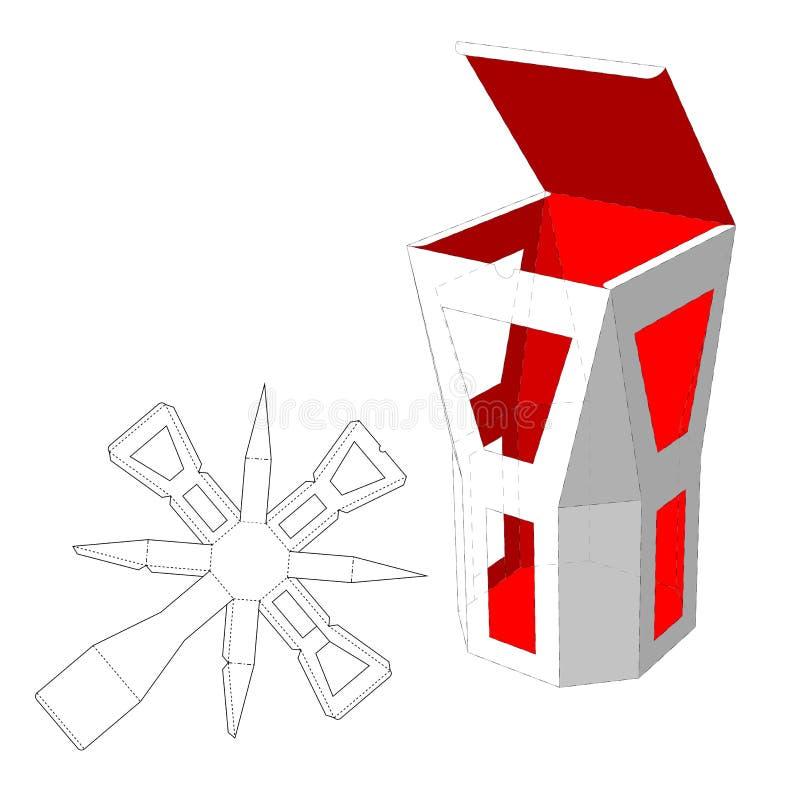 La boîte avec des fenêtres a découpé le calibre avec des matrices Caisse d'emballage pour la nourriture, le cadeau ou d'autres pr illustration stock
