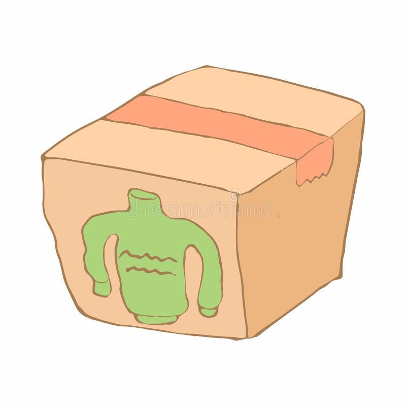 La boîte avec la donation vêtx l'icône, style de bande dessinée illustration libre de droits