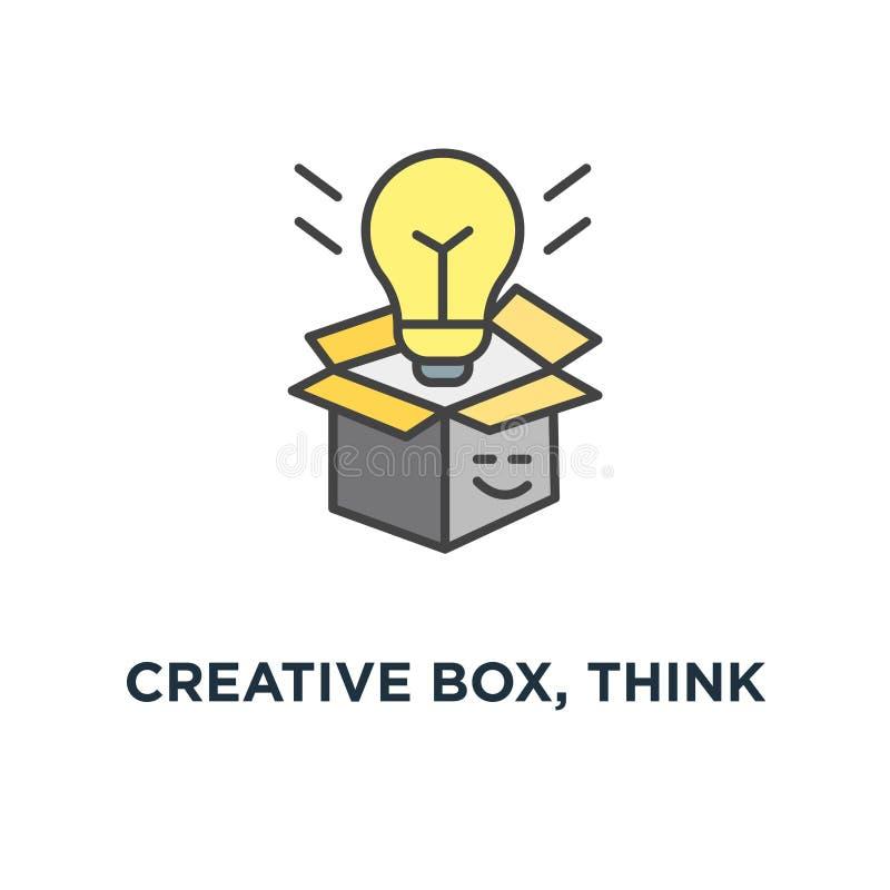 la boîte créative, pensent en dehors de l'icône de boîte, du symbole de la créativité et de l'échange d'idées, de la boîte mignon illustration libre de droits