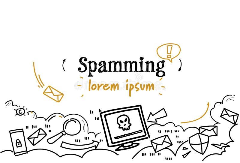 La boîte d'email entaillant le croquis de avertissement de concept de Spamming de boîte aux lettres de Spam gribouillent l'espace illustration libre de droits
