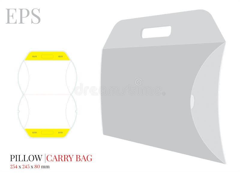 La boîte d'oreiller avec le calibre de poignée, vecteur avec découpé/laser avec des matrices a coupé des couches Sac à provisions illustration libre de droits
