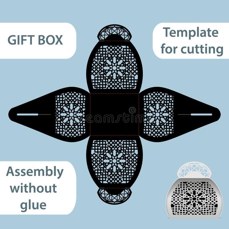 La boîte de papier de cadeau à jour avec une poignée, le modèle de dentelle, ensemble sans colle, a coupé le calibre, empaquetant illustration de vecteur