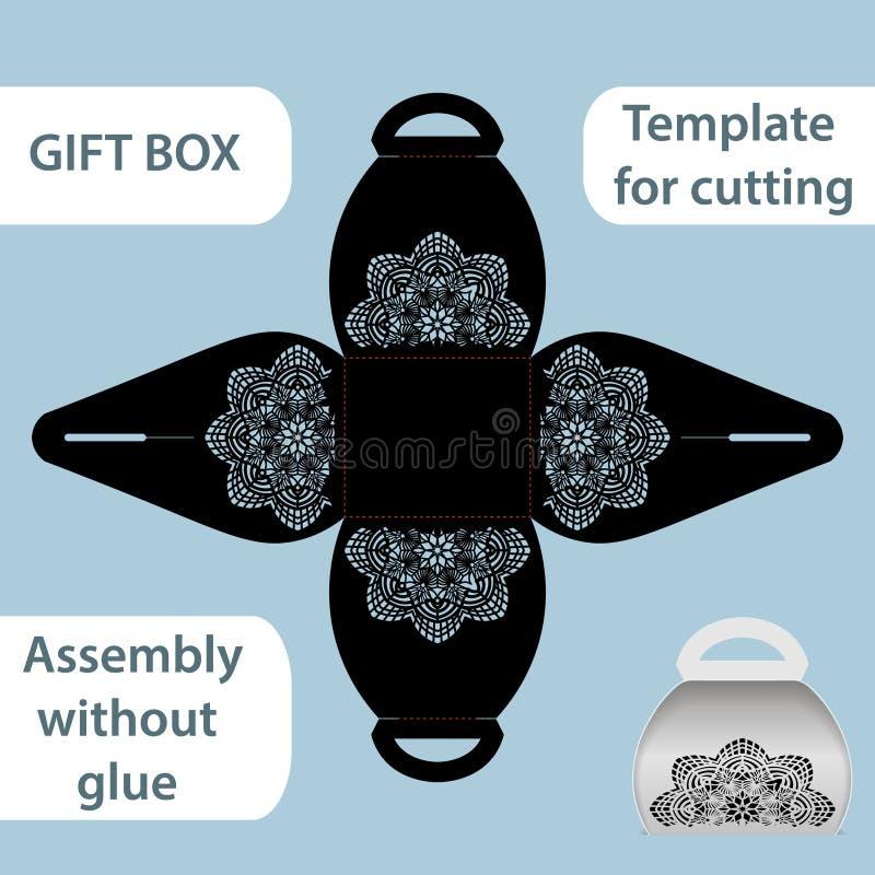 La boîte de papier de cadeau à jour avec une poignée, le modèle de dentelle, ensemble sans colle, a coupé le calibre, empaquetant illustration stock