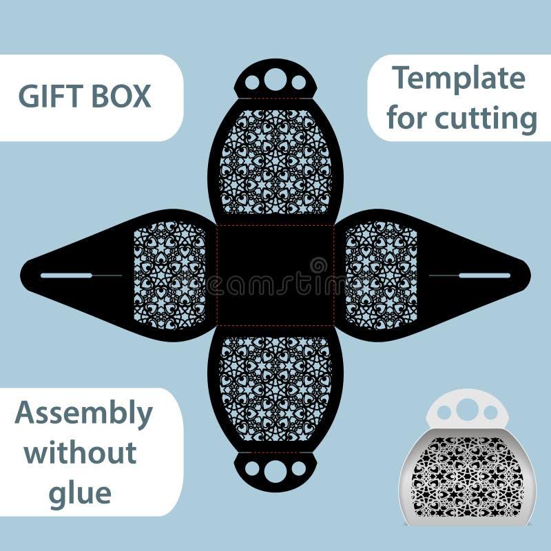 La boîte de papier de cadeau à jour avec une poignée, le modèle de dentelle, ensemble sans colle, a coupé le calibre, empaquetant illustration libre de droits
