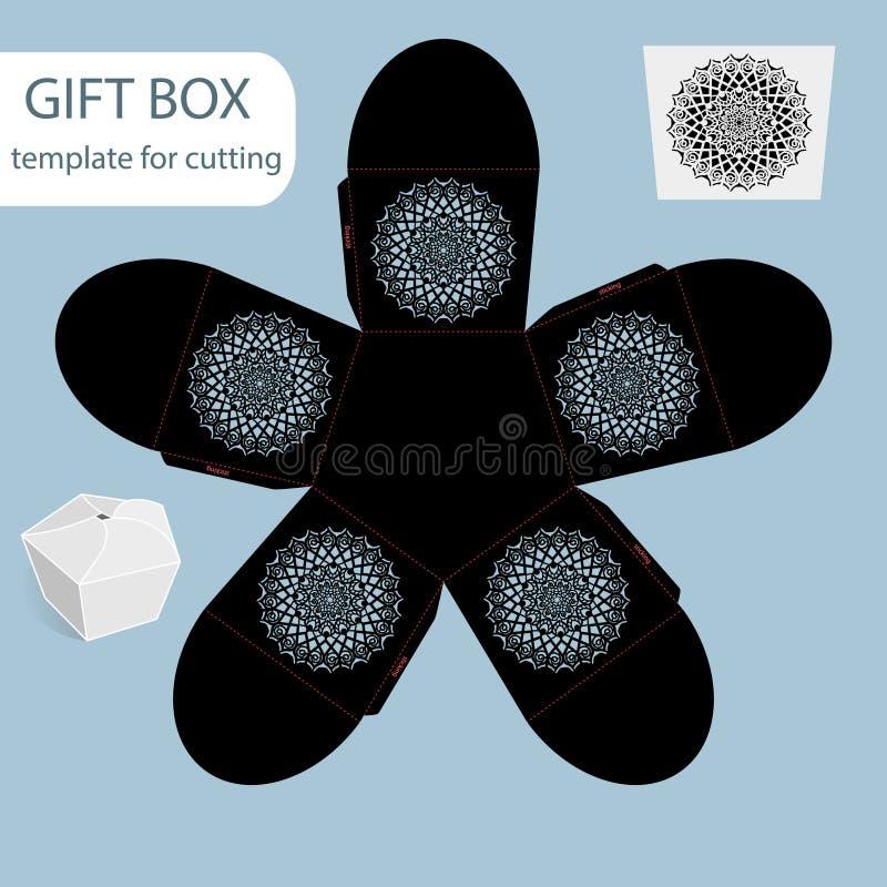 La boîte de papier de cadeau à jour, modèle de dentelle, le fond pentagonal, a coupé le calibre, empaquetant pour la vente au dét illustration stock