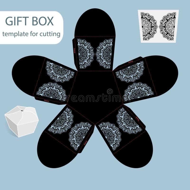 La boîte de papier de cadeau à jour, modèle de dentelle, le fond pentagonal, a coupé le calibre, empaquetant pour la vente au dét illustration de vecteur