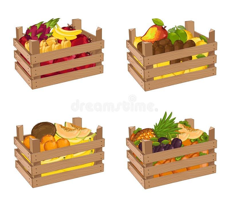 La boîte en bois complètement de l'ensemble de fruit a isolé le vecteur illustration de vecteur