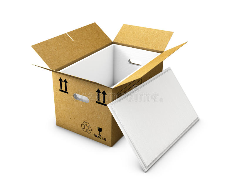 La boîte en carton vide s'est ouverte avec la mousse isolée dedans et le chapeau, d'isolement sur le fond blanc illustration stock