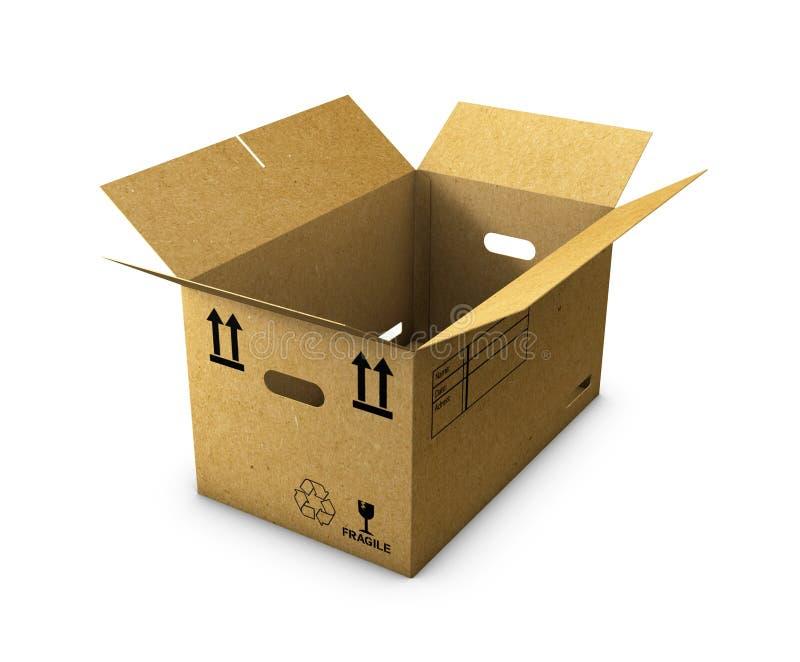 La boîte en carton vide s'est ouverte d'isolement sur le fond blanc illustration de vecteur