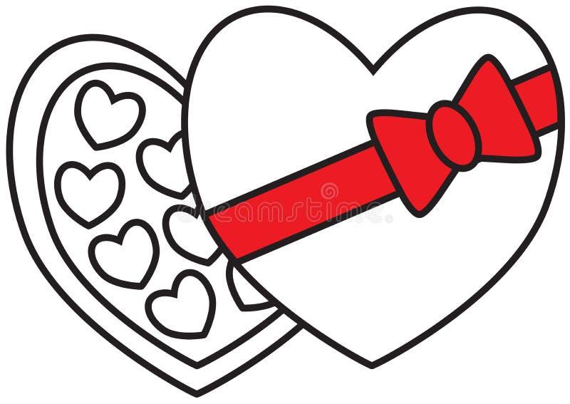 La boîte et les chocolats à chocolat, les truffes ou les bonbons avec le coeur forment pour Valentine ou le jour de valentines illustration libre de droits