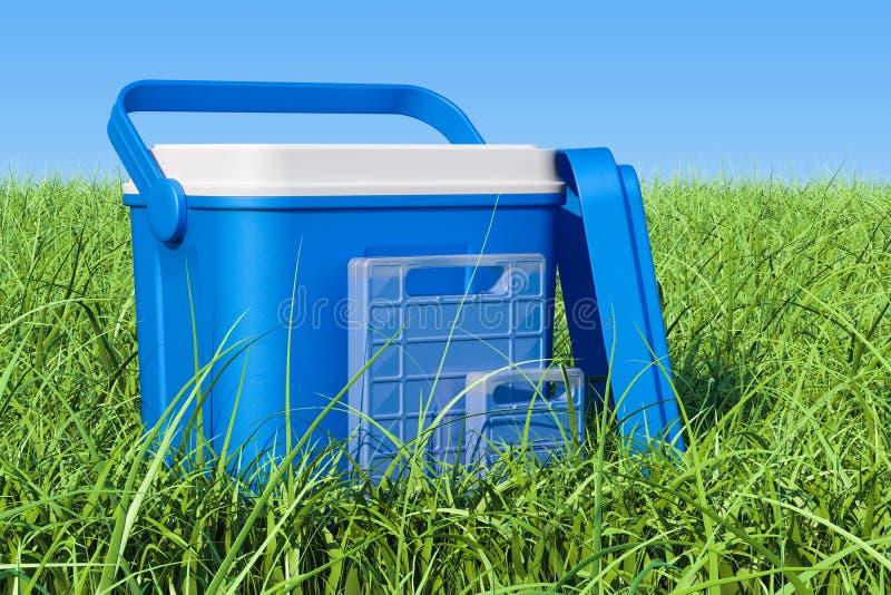 La boîte fraîche portative sur l'herbe verte contre le ciel bleu, 3D rendent illustration libre de droits
