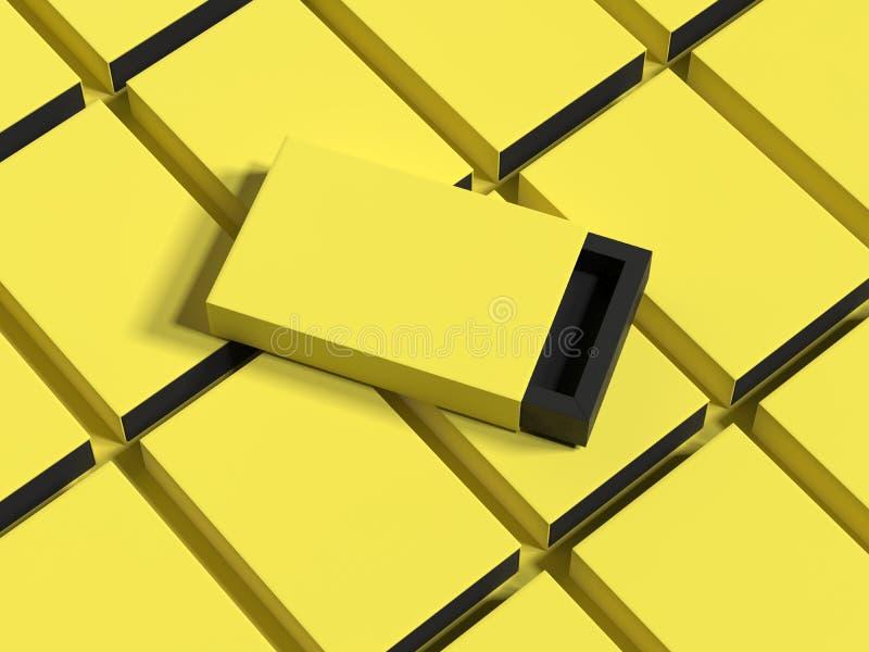 La boîte jaune sur le jaune enferme dans une boîte le fond, le rendu 3d illustration stock