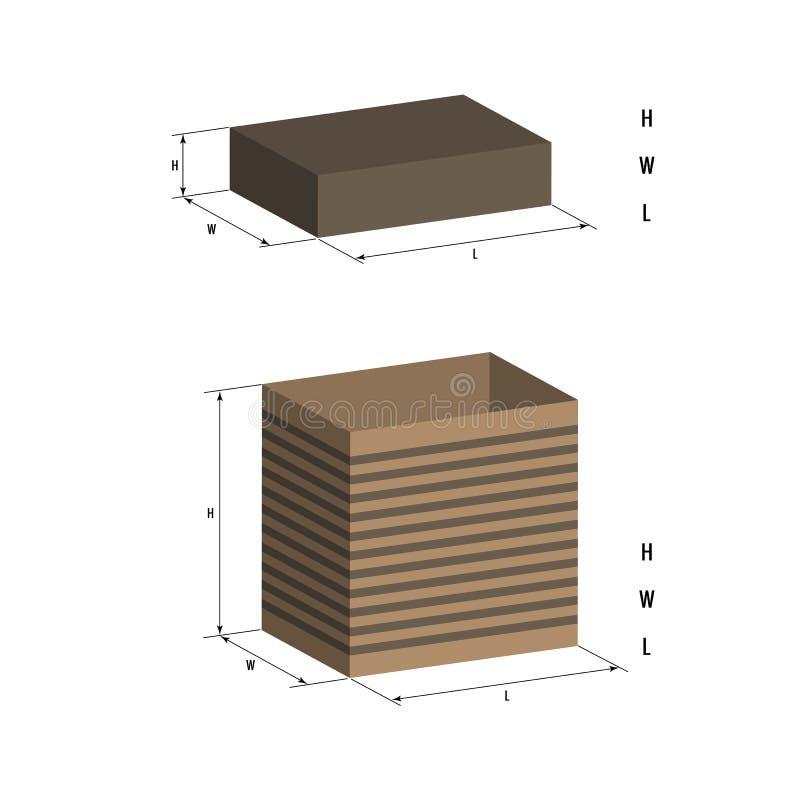 La boîte réaliste avec le couvercle sur le fond blanc, ses dimensions sont indiquées illustration 3d, boîte ouverte, sa longueur, illustration stock