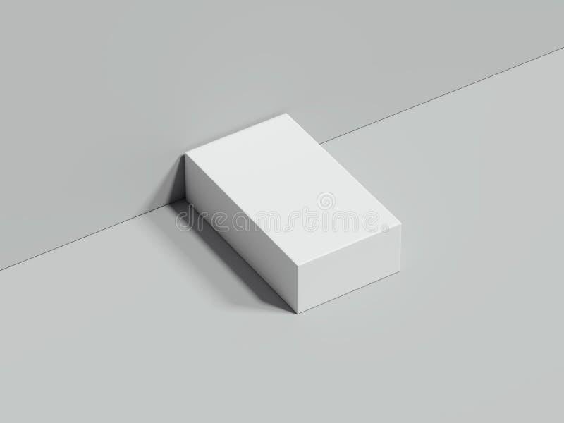 La boîte rectangulaire blanche se tient à côté du mur gris et sur le plancher, le rendu 3d illustration de vecteur