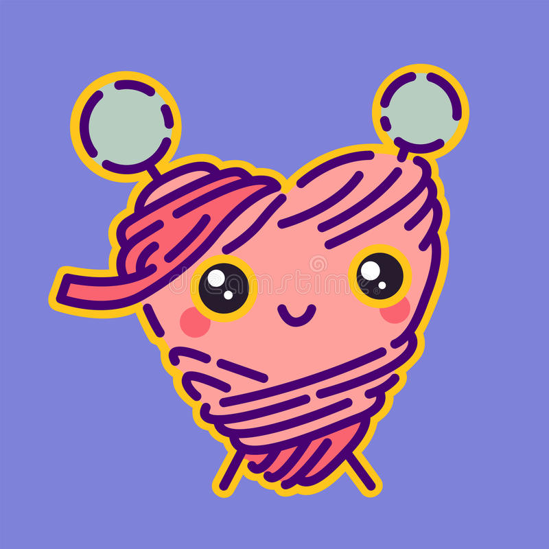 La bobine du fil avec des aiguilles de tricotage badge, icône mignonne de couturière, illustration de vecteur illustration stock