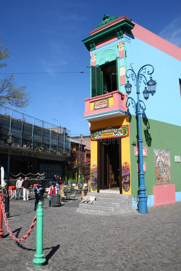 La Boca. Tyical view over La Boca, Buenos Aires, Argentina: Colorful houses, lamps and poles stock photo